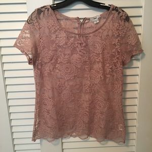 Gorgeous Pink Lace Shirt by Bar III size XS